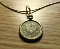 1987 MOROCCAN 20 SANTIME BRASS COIN PENDANT ON A 24