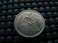 1891 REPUNCHED 9 TWO TAILS VARIETY SEATED DIME