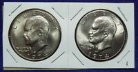 1974 P & D EISENHOWER DOLLAR SET   BU        2 COINS