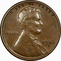 1924-S 1C LINCOLN WHEAT CENT AU/BU  OLD TYPE COIN PENNY MONEY