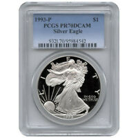 1993 P PCGS PR70 PROOF AMERICAN SILVER EAGLE SILVER ONE DOLL