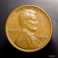 1924-S LINCOLN CENT. BROWN AU EXAMPLE. ATTRACTIVE.