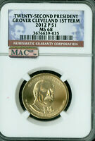 2012-P GROVER CLEVELAND 1ST TERM PRES. DOLLAR NGC MINT STATE 68 FINEST MAC SPOTLESS