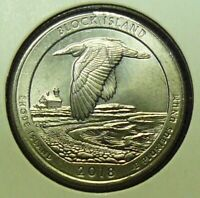 2018 P WASHINGTON NAT'L PARK QUARTER / BLOCK ISLAND   DIE CHIP ON WING