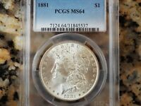 1881-P MORGAN SILVER DOLLAR, PCGS MINT STATE 64