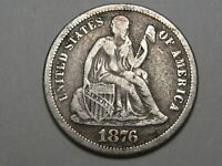 VF 1876-CC SILVER US SEATED LIBERTY DIME.  15