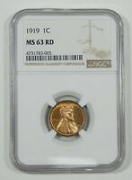 1919 LINCOLN/WHEAT EARS REVERSE CENT NGC MINT STATE 63 RED 1C