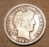 1905S SILVER BARBER DIME AND BONUS COIN 1964 SILVER QUARTER