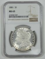 1881 MORGAN DOLLAR CERTIFIED NGC MINT STATE 63 SILVER $