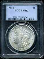 1921-S $1 MORGAN SILVER DOLLAR MINT STATE 63 PCGS 14647631