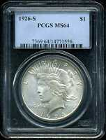 1926-S $1 PEACE SILVER DOLLAR MINT STATE 64 PCGS 14771556