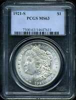1921-S $1 MORGAN SILVER DOLLAR MINT STATE 63 PCGS 14647611
