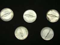 CANADA 1967 SILVER DIMES  5 COINS  UNGRADED UNCLEANED  SOME