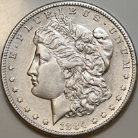 1884 S MORGAN SILVER DOLLAR - AU / ALMOST UNCIRCULATED - BETTER GRADE