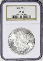 1892-CC MORGAN SILVER DOLLAR - NGC MINT STATE 63 - TOUGHER DATE,  LUSTER, BEST PRICE