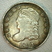 1832 US HALF DIME SILVER CAPPED BUST TYPE COIN  FINE RIM DAMAGE H10C VF