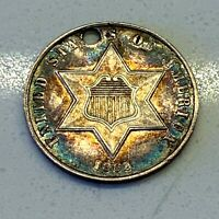 1862 TYPE 3 3C THREE CENT SILVER PIECE: TONED: HOLED