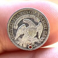 1834 H10C CAPPED BUST HALF DIME: PROOF-LIKE AU DETAILS: HOLED
