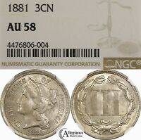 1881 3CN THREE CENT NICKEL NGC AU58 RPD REPUNCHED DATE  OLD TYPE COIN J