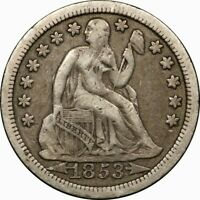 1853 10C SEATED LIBERTY SILVER DIME ARROWS VF  OLD TYPE COIN MONEY J
