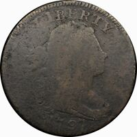 1797 1C DRAPED BUST LARGE CENT S-120A GRIPPED EDGE  OLD TYPE COIN MONEY J