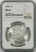 1898 $1 NGC MINT STATE 64 MORGAN SILVER DOLLAR