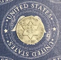 1851 THREE CENT SILVER. COLLECTOR COIN FOR COLLECTION OR SET