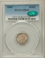 1860 SEATED LIBERTY HALF DIME PCGS MINT STATE 65 CAC LOVELY TONED