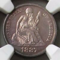 1887 SILVER UNITED STATES PROOF SEATED LIBERTY DIME NGC PR63 ONLY 710 MINTED