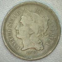1873 US NICKEL THREE CENT CLOSED 3  GOOD VG COPPER NICKEL 3 CENTS COIN