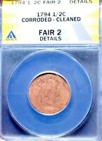 1794 ANACS FAIR 2 DETAILS CORRODED/CLEANED LIBERTY CAP HALF CENT 1/2C