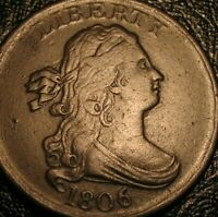 OLD US COINS 1806 DRAPED BUST HALF CENT PENNY EARLY COPPER BEAUTY
