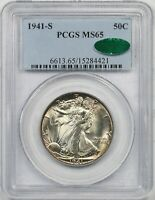 1941-S 50C PCGS/CAC MINT STATE 65 BETTER DATE LIBERTY WALKING HALF DOLLAR