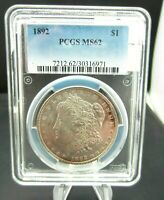 1892 MORGAN DOLLAR PCGS MINT STATE 62 KEY COIN. BEAUTIFUL ADDITION TO YOUR SET