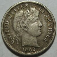 1902-S EXTRA FINE  BARBER DIME,  EYE APPEAL, SHIPS FREE