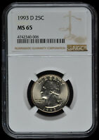 1993 D WASHINGTON QUARTER; NGC MS65