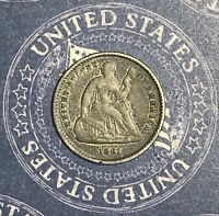 1861 SEATED LIBERTY SILVER HALF DIME.COLLECTOR COIN FOR COLLECTION.SHIPS FREE