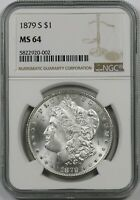 1879-S $1 NGC MINT STATE 64 MORGAN SILVER DOLLAR