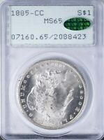 1885 CC MORGAN DOLLAR PCGS MINT STATE 65 CAC, OGH RATTLER,  EXAMPLE