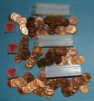 1954 P D S LINCOLN WHEAT CENT ROLLS AU/BU   PARTIAL ROLLS FROM BIG COLLECTION