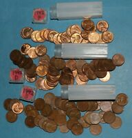 1942 P D S LINCOLN WHEAT CENT ROLLS EF BU   PARTIAL ROLLS FROM BIG COLLECTION