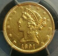 1891 5 DOLLAR GOLD LIBERTY COIN SCRATCH EXTRA FINE  DETAIL PCGS GENUINE SHIPS FREE