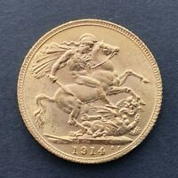 FULL GOLD SOVEREIGN KING GEORGE V  1914
