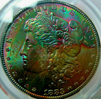 1883-O RAINBOW TONED MORGAN SILVER DOLLARPCGS MINT STATE 65 CACGEM GREEN TEXTILE TONER