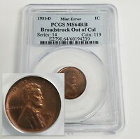 1951 D LINCOLN CENT 1C ONE PENNY BROADSTRUCK PCGS MS64 RB MI