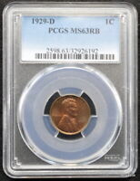 1929-D LINCOLN WHEAT CENT PCGS MINT STATE 63 RB