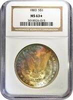 1883-P NGC MINT STATE 63 STAR - MORGAN SILVER DOLLAR - LY TONED REVERSE
