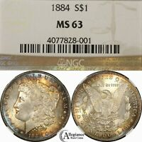 1884 $1 MORGAN SILVER DOLLAR NGC MINT STATE 63 RAINBOW TONED  OLD TYPE COIN MONEY J