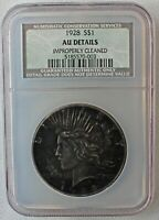 1928 SILVER PEACE DOLLAR COIN $1 US TYPE COIN CERTIFIED NCS AU DETAILS CLEANED