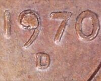 1970 D LINCOLN MEMORIAL CENT   DIE CHIP IN DATE / FILLED